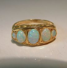 Antique Victorian 18 Karat Yellow Gold Opal Bridge Ring Vintage Fine Jewelry Chester c1903
