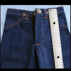 Here are a pair of mid 1940s, mens, Salesman's sample indigo denim work pants. Made in miniature right down to the last rivet! Offered at an