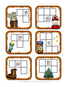 This free download contains a Canoe Number Match 0-14, S'More Dominoes with one activity page, Campfire 5-Frame and 10-Frame, and Hundreds Chart Puzzle Frames (one programmed, one blank). Lots of good ideas here!