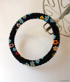 Beaded Bracelet Beaded Crochet Bracelet Blue by NazoDesign, $10.00