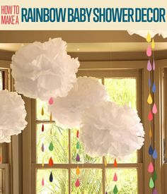 How to Make Baby Shower Decorations Want to know how to make tissue paper pom poms as baby shower decorations? It's an easy baby shower decor that will make your event more festive and fun! Baby Shower Themes Neutral, Simple Baby Shower, Gender Neutral, Diy Baby Shower Decorations, Rainbow Decorations, Baby Sprinkle Decorations, Shower Centerpieces, Paper Decorations, Paper Pom Poms