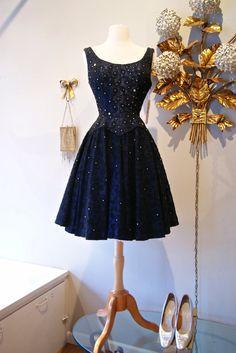 ~Vintage 1950s Navy Blue Embroidered Embellished Party Dress~