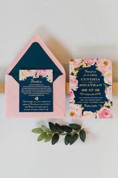 Navy and blush pink watercolor floral wedding invitation suite by Posh Paper.