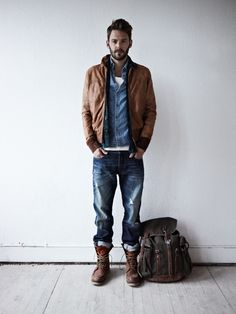 classic brown leather, indigo shirt, white tee, blue jeans, leather boots / men fashion