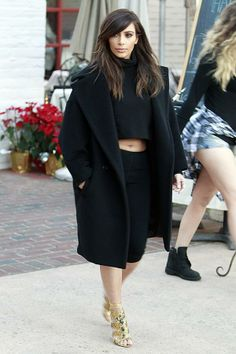 Kim Kardashian In Max Mara coat & Azzedine Alaia top & pants - Out & About LA. Re-tweet and favorite it here: https://twitter.com/MyFashBlog/status/432060828783632384/photo/1