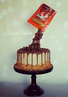 Reeses Drip Cake Gravity Defying Cake Baking Up Treble Cake