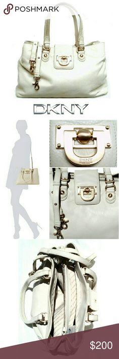 """DKNY CREAM PBBLD LEATHER HANDBAG DKNY CREAM COLOR SOFT PEBBLED LEATHER HANDBAG Never Used /Excellent Condition  Very Soft Pebbled Cream Color w/Gold Hardware *.  2 Large Interior Compartments w/Zipper Divider Compartment *.  Both Sides have Zipper Compartment w/Card Pouches *.  Huge Gold -DKNY Logo Lock Front w/Magnetic Closing *.  2 Handles w/Drop 8.5"""" *.  Adjustable Approx 52"""" Attachable Strap *.  4 Gold Feet *.  Approx Meas; L 15"""" X H10"""" X D 3 3/4"""" Very Clean Interior except a Faint…"""