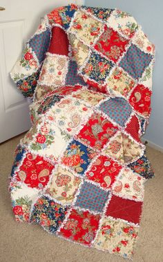 Rag Quilt, Throw, Americana Quilt, Lap Quilt, Patriotic, Patchwork Quilt, Throw, Red, Blue, 100% Cotton, Designer Fabric