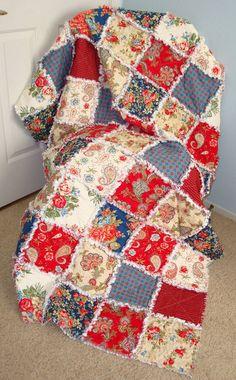 Rag Quilt, Throw, Americana Quilt, Lap Quilt, Patriotic, Patchwork Quilt, Throw, Red, Blue, 100% Cotton, Designer Fabric