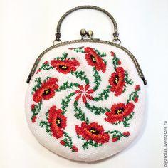 Купить Танец маков - разноцветный, цветочный, сумочки вязанные бисером, вязание крючком с бисером