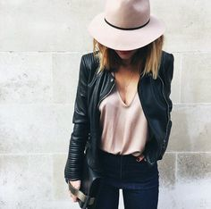 Black & Blush. Black leather clutch and biker jacket with pink blush hat and cami.