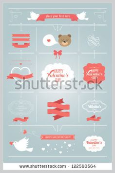 Set of valentine ornaments and decorative elements, vintage banner, ribbon, labels, frames, badge, stickers Vector love element