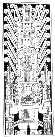 Arte de Chavin  Estela de Raimondi  Descripción: La Estela de Raimondi esta hecha en piedra y simboliza a una deidad (Dios de las Varas) humana felinizada de pie, con sus brazos extendidos manteniendo en cada uno de ellos  posiblemente a la droga alucinógena (San Pedro) utilizada  en las ceremonias rituales.
