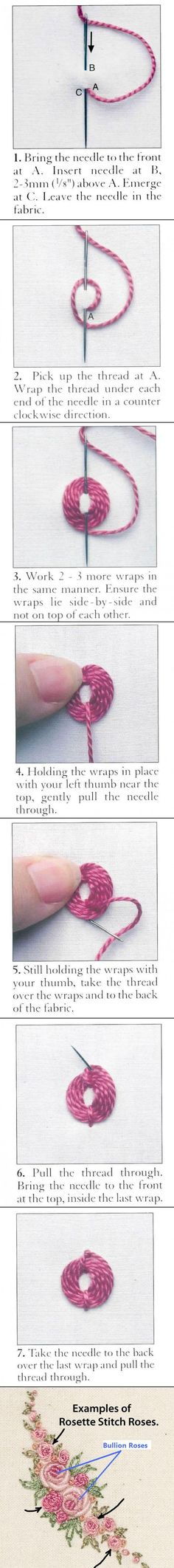 Rosette stitch tutorial. Shown in a mixed bouquet of rosette stitch roses and…
