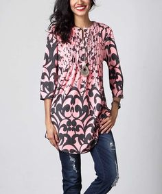 Another great find on #zulily! Pink Floral Notch Neck Pin Tuck Tunic #zulilyfinds