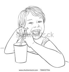 Sketch of happy laughing little girl drinking from glass with straw, Hand drawn vector illustration