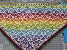 Stranded & steeked shawl. I'm very curious about steeking into a triangle shape! Ravelry: forevermohr's Rainbow Thistle Heirloom Shawl