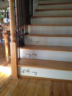 Enjoyable Wooden Steps. i love you  every step of the way painted steps this would be cool down isle You could put scripture up stairs Nice A great reminder things that matter most as