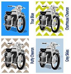 motorcycle art print boys wall art rooms custom by PaperLlamas, $15.00