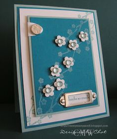 Me, My Stamps and I: Blue Blooms Stamps: Eastern Blooms, Pocket Silhouettes Paper: Whisper White, Baja Breeze, Pacific Point Ink: Pacific Point, White Craft Accessories: HPH, dew drops Tools: Small Oval punch, Three for you punch