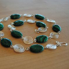 Green Malachite Silver Spiral Necklace - Silver Spiral and Malachite Necklace by TandMArtandCrafts on Etsy