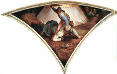 Michelangelo- Sistine Chapel Ceiling: David and Goliath, 1509