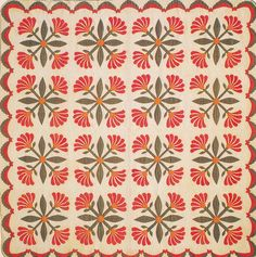 Mexican Rose Quilt, 1890. Made by Mary Ann Elizabeth Myers Armstrong. Smithville, Mississippi.