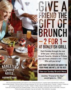 Second Sunday brunch free at Bonefish Grill restaurants coupon via The Coupons App