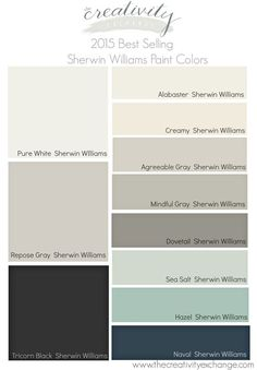 2015 Best Selling and Most Popular Paint Colors {Sherwin Williams and Benjamin Moore} 2015 Best Selling and Most Popular Sherwin Williams Paint Colors. Benjamin Moore best sellers on link. The Creativity Exchange Sea Salt Sherwin Williams, Sherwin Williams Gray, Sherwin Williams Agreeable Gray, Antique White Sherwin Williams, Sherwin Williams Cabinet Paint, Dovetail Sherwin Williams, Sherwin Williams Alabaster White, Wall Colors, Pallets