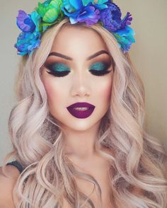 Alinna is stunning and gorgeous in luscious and sweet curls! She is sporting an ombre lip, shimmery blue shadow and a gorgeous floral crown!