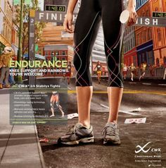 """Tights that provide targeted support to the knees. """"The patented CW-X Support Web bands together the muscles and ligaments of the lower leg to stabilize the knee and reduce vibration for increased efficiency."""""""
