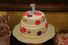 My daughters 1st Bday cake.  This is the first time I made fondant or even used it!  It tasted good too.