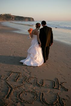 super cute idea for thank you cards...not that i have any intention of getting married on a beach.