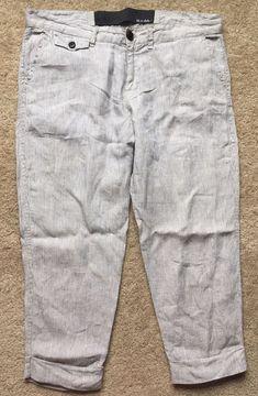 346ba91e513 JOE S Women s 100% LINEN Pin Striped Crop CAPRI Pants Size 30 Waist 36
