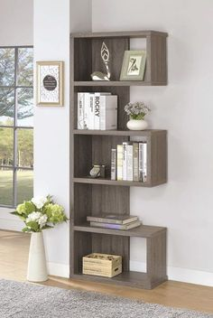 Modern Whimsical Design Weathered Grey Display Bookcase, Gray - New Deko Sites Shelves, Interior, Diy Furniture, Furniture Decor, Home Decor, House Interior, Bedroom Decor, Diy Home Decor Projects, Home Decor Furniture