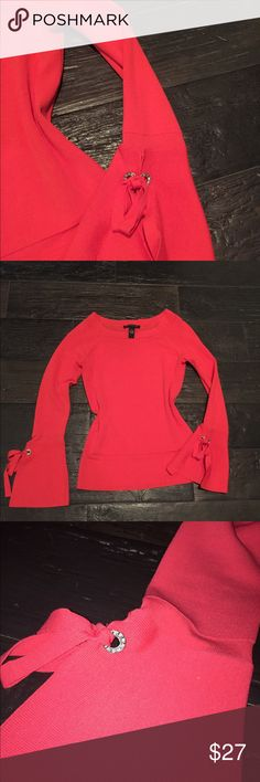 Coral Top... Spring is Coming! This chic Top has scooped neck line, and gorgy bell sleeves with diamond detail and ribbon 🎀 to tie a cute bow  worn twice INC International Concepts Tops Blouses