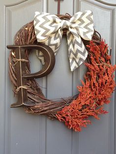 Fall Wreath - The initial needs to be a color cause it is getting lost with the grapevine wreath.