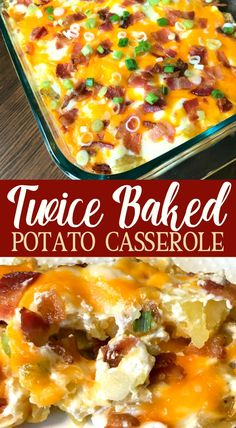 Twice Baked Potato Casserole : Do you love twice baked potatoes, but need an easier way to make them? This Twice Baked Potato Casserole is packed with delicious flavors and can be made much more quickly than traditional twice baked potatoes. Loaded Baked Potato Casserole, Potatoe Casserole Recipes, Loaded Baked Potatoes, Potato Caserole, Quick Potato Recipes, Bacon Cheese Potatoes, Cheesy Potatoes, Healthy Casserole Recipes, Potato Meals