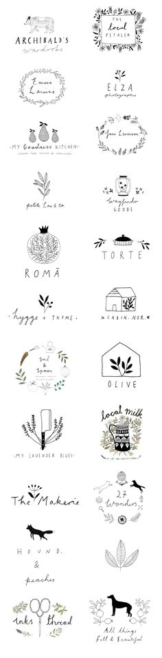 Logo designs by Ryn Frank www.rynfrank.co.uk hand written illustration http://jrstudioweb.com/diseno-grafico/diseno-de-logotipos/ (Simple Top Design)