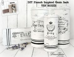 Guest post for the Graphics Fairy - DIY French inspired grain sack tin boxes