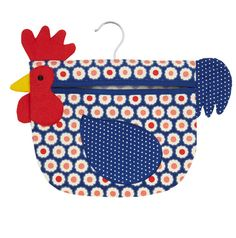 Fun CLOTHES PIN PEG Bag  Country Hen removable by mountainlodge, $12.95