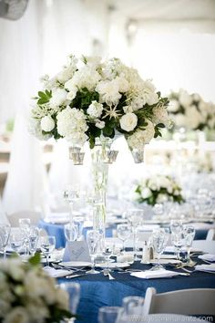 blue tableclothes at this blue green white wedding