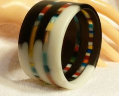 Thick,White,Black Vertical Striped Resin bangle Bracelet. My Way Designs