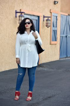 Tunic, skinnies, red fringe sandals plus size jeans, plus size fall outfit, Curvy Women Fashion, Womens Fashion For Work, Trendy Fashion, Plus Size Fashion, Girl Fashion, Fashion Outfits, Petite Fashion, Fashion 2015, Fashion Spring