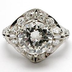 VINTAGE DIAMOND ENGAGEMENT RING W/ANTIQUE ART DECO OLD EUROPEAN CUT DIAMOND MOUNTING IN PLATINUM