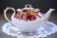Stunning Royal Albert OLD ENGLISH ROSE Teapot, Old Style Heavy Gilt, Made in England, Pink Rose Floral Teapot, Rare Small 3 Cup, Oval, 1930s $995.00 ETSY