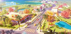 ArtStation - Imaginative life, LH小 螺号 Scenery Background, Cartoon Background, Animation Background, Background Images, Environment Concept Art, Environment Design, Zootopia Concept Art, Game Concept Art, City Scene