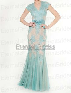 Aqua and Nude Lace Applique Flouce Gown Sheer by EternalBrides, $269.00
