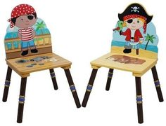 Teamson Fantasy Fields Pirates Island Chair Wood (Set of 2) play room kids room