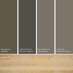 Deep taupe paint picks. As neutrals, these colors work with any color floor,